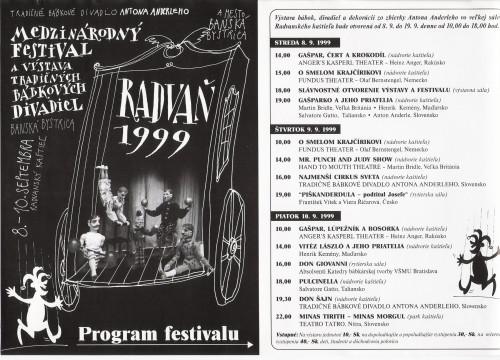 Medzinárodný festival Radvaň, Bansá Bystrica 8. - 10.9.1999, Slovensko